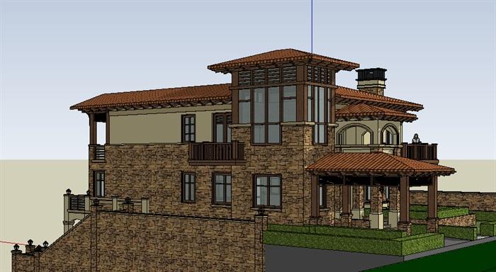 西方古典欧式风格坡地别墅3层su模型[原创]
