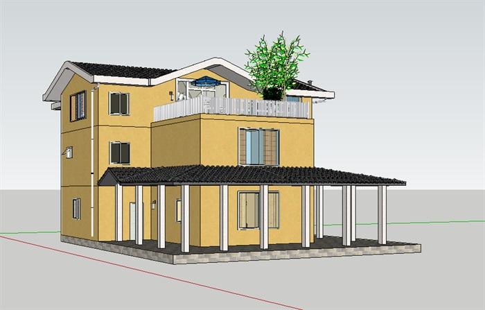 中式住宅别墅3层设计su模型[原创]
