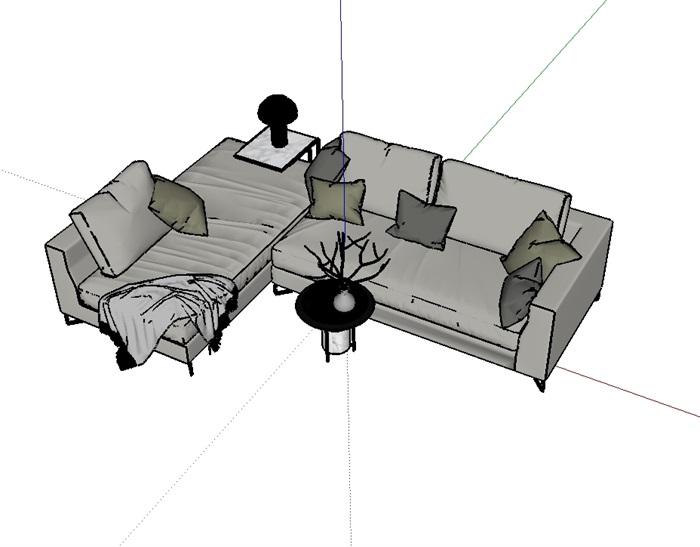 新款沙发精美家具设计su模型(3)