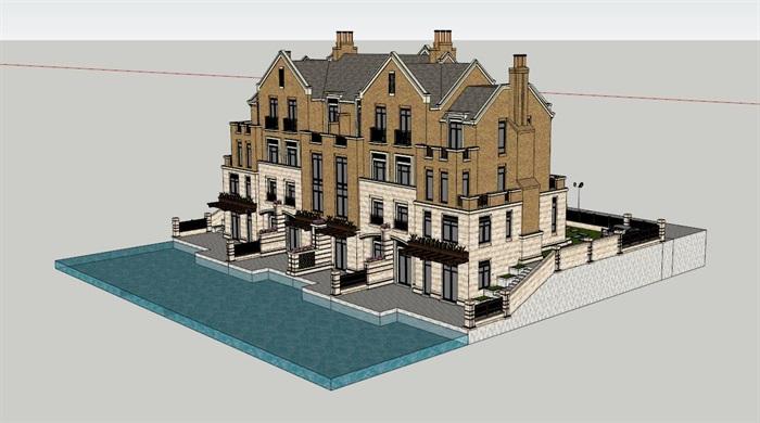 欧式完整别墅建筑设计su模型[原创]
