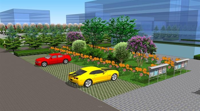 现代校园广场景观设计方案su模型[原创]