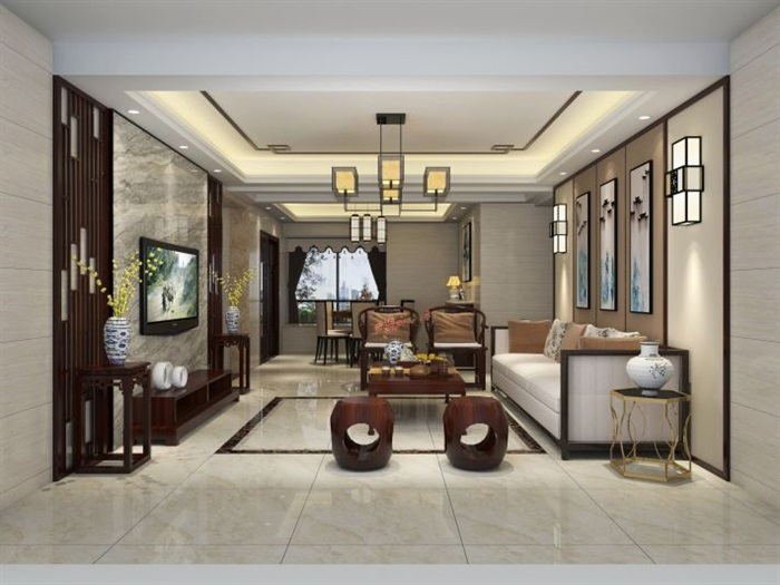 某室内样板间客餐厅装潢方案SU模型
