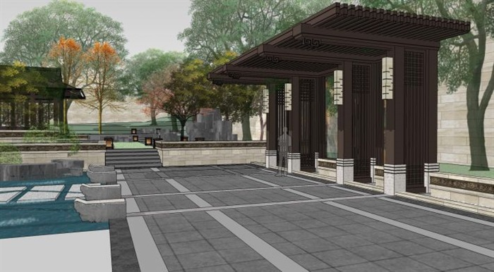 新中式后庭院景观su模型[原创]图片