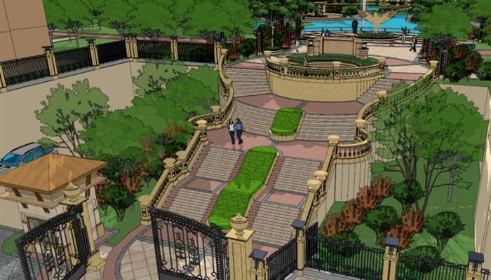 一个欧式楼盘小区景观方案SU设计模型,模型为欧式风格,模型有材质贴图,制作详细独特完整,具有一定的使用价值,欢迎下载。