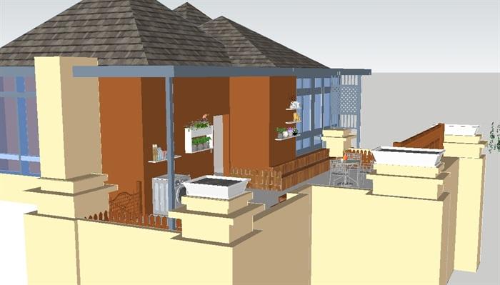 欧式屋顶花园景观方案SU设计模型,模型为欧式风格,模型有材质贴图,制作详细独特完整,欢迎下载使用。