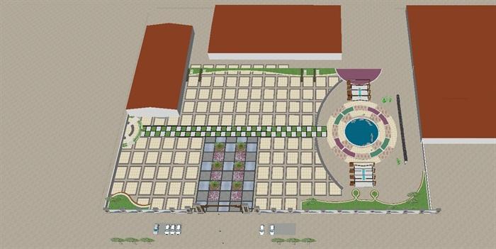 新中式渔业主题广场景观方案su设计模型[原创]