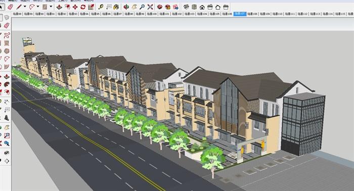新中式商业步行街建筑与景观方案su设计模型[原创]