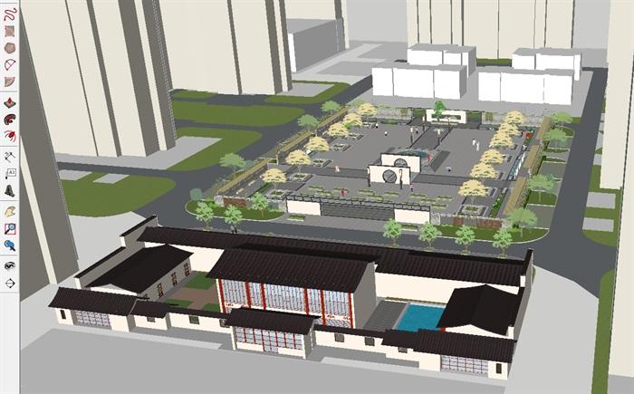 新中式社区活动中心广场su设计模型[原创]