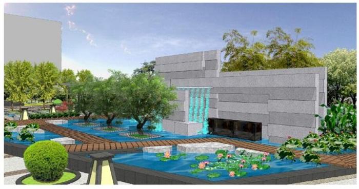 一个新中式办公区休闲广场景观规划su设计模型[原创]