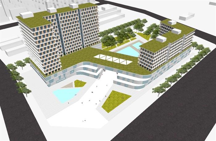 一个现代高层酒店su设计模型[原创]