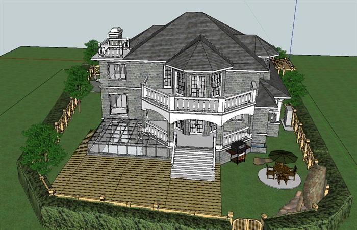 欧式详细坡顶别墅带庭院设计su模型[原创]