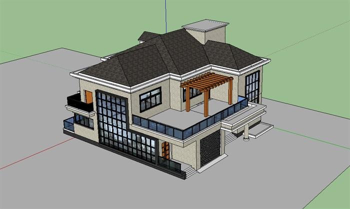 现代中式独栋别墅3层建筑su模型[原创]