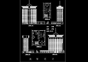 16层简单的旅馆建筑cad方案设计