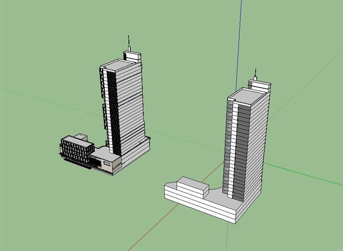 立新酒店高层建筑设计su模型[原创]
