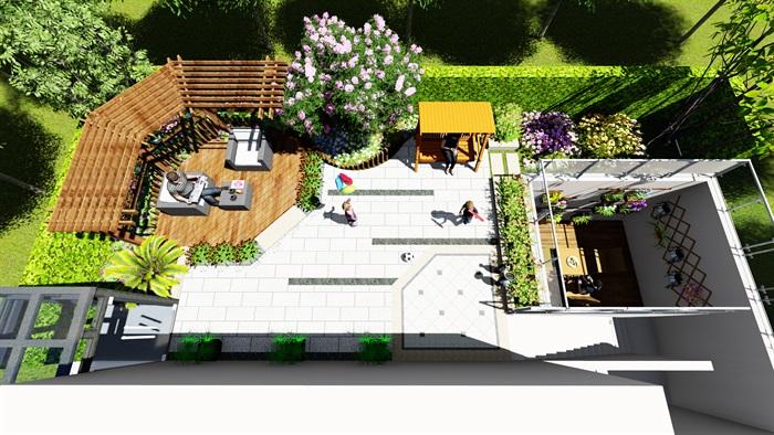 现代风格景观庭院设计su场景模型[原创]