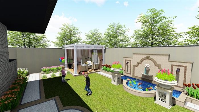法式风格小庭院景观设计su模型[原创]