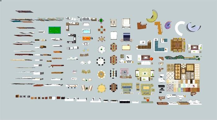 现代室内装潢家具,门窗,背景墙,楼梯等素材su模型