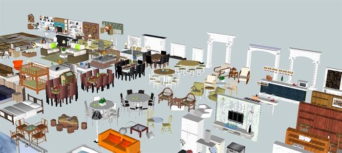 现代室内装潢家具、门窗、背景墙、楼梯等素材su模型