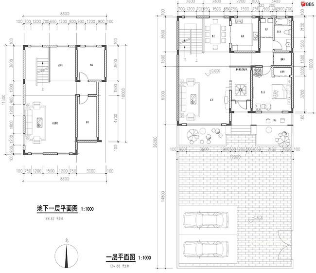 新中式农村居民别墅平面图su模型设计图片