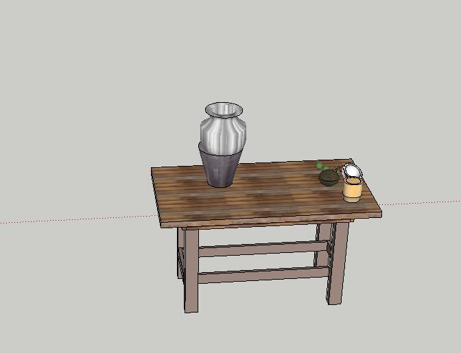 某室内两张桌子设计su模型