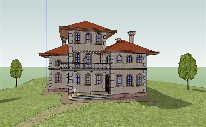 欧式别墅建筑体设计su模型[原创]