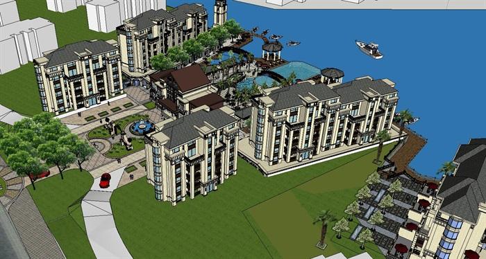欧式商业住宅楼设计su模型[原创]