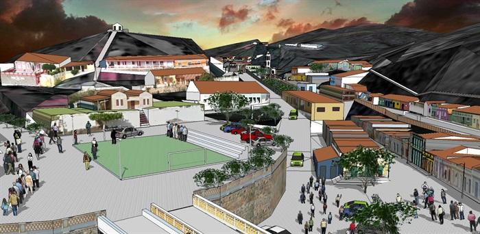 欧式小城镇整体度假村沙滩SU模型