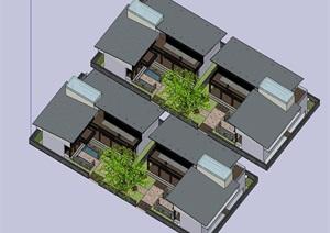 中欧结合住宅别墅建筑SU(草图大师)模型
