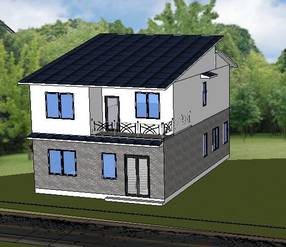 中式小别墅两层建筑设计su模型[原创]