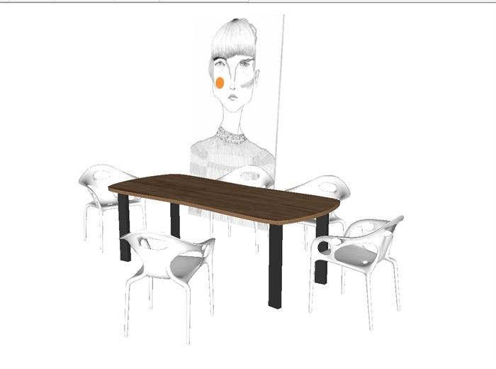 一套家装餐桌椅SU模型(1)