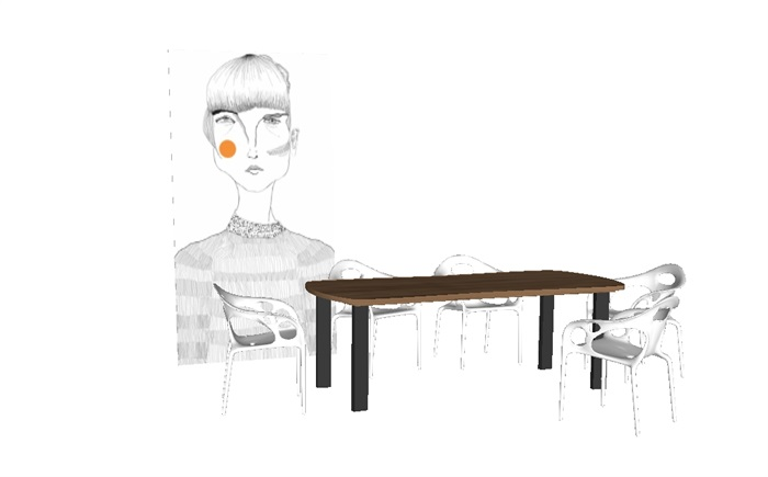 一套家装餐桌椅SU模型(2)
