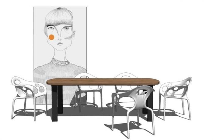 一套家装餐桌椅SU模型(3)