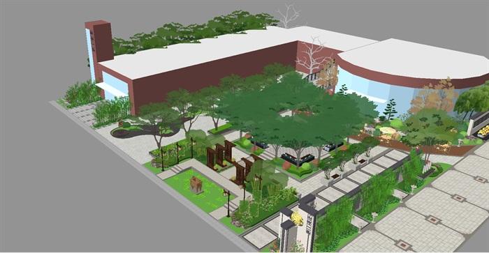 新中式山河一品售楼处及景观示范区SU模型(3)