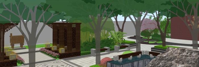 新中式山河一品售楼处及景观示范区SU模型(4)