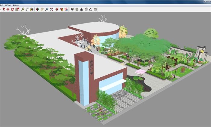 新中式山河一品售楼处及景观示范区SU模型(5)