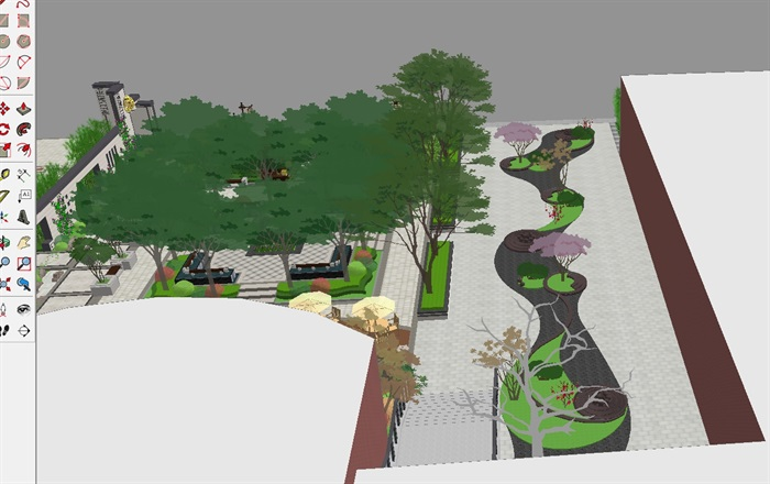 新中式山河一品售楼处及景观示范区SU模型(8)