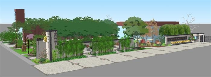 新中式山河一品售楼处及景观示范区SU模型(7)