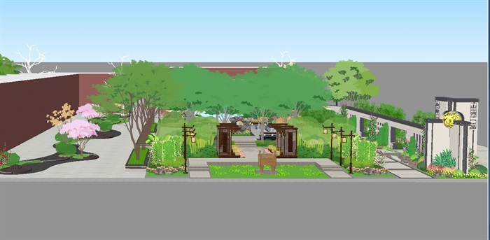 新中式山河一品售楼处及景观示范区SU模型(9)