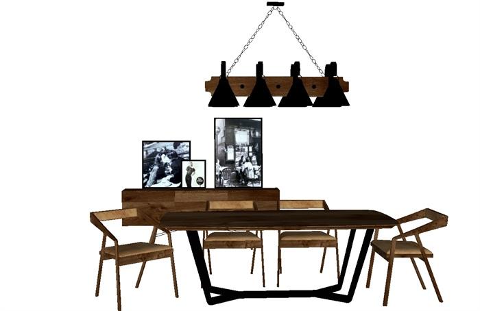 一套loft风格餐桌SU模型(1)