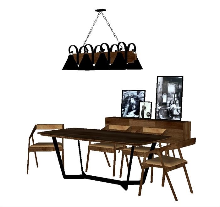 一套loft风格餐桌SU模型(2)