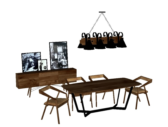 一套loft风格餐桌SU模型(3)