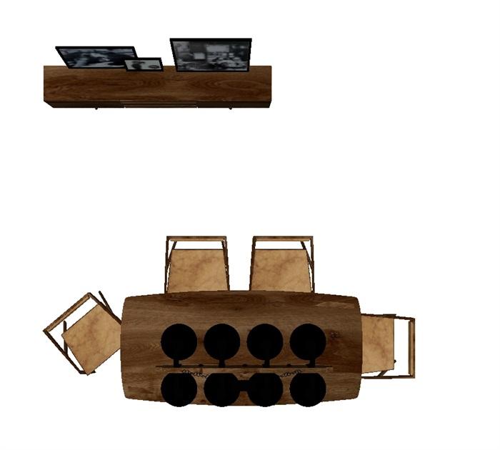 一套loft风格餐桌SU模型(4)