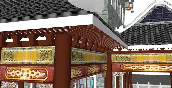 一个古典中式宝殿塔楼SU模型(1)