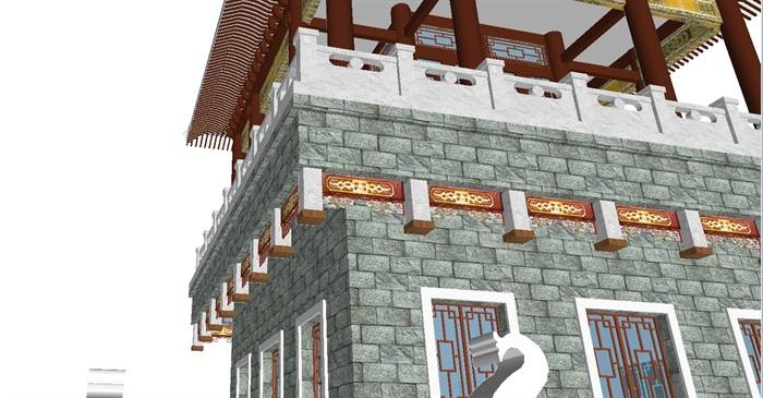 一个古典中式宝殿塔楼SU模型(2)