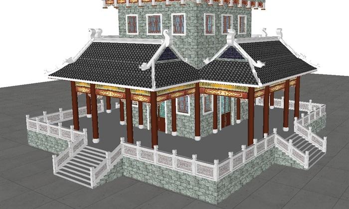 一个古典中式宝殿塔楼SU模型(3)