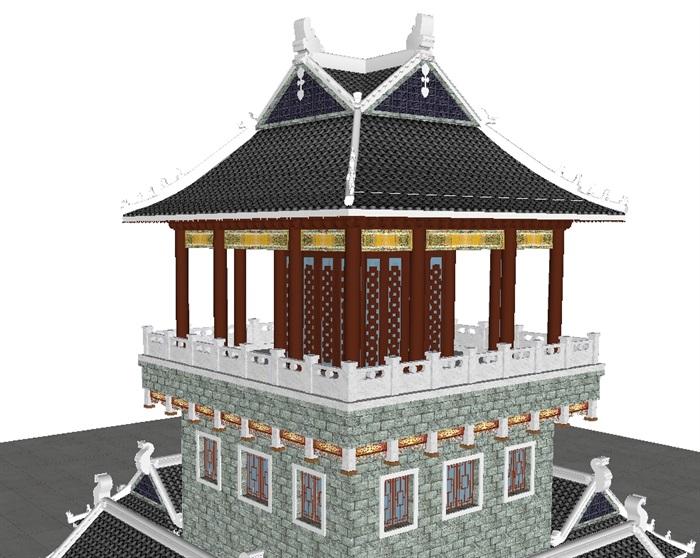 一个古典中式宝殿塔楼SU模型(4)