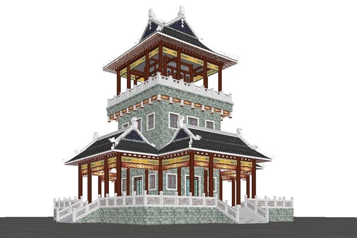 一个古典中式宝殿塔楼SU模型(5)