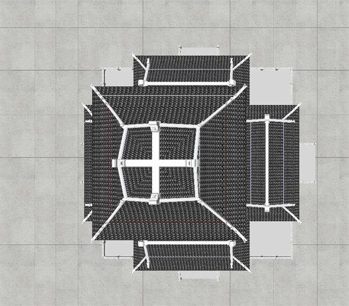 一个古典中式宝殿塔楼SU模型(6)