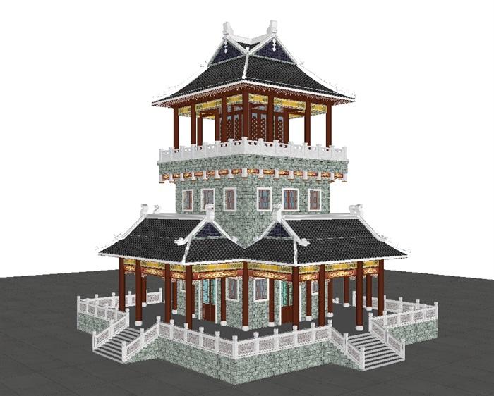 一个古典中式宝殿塔楼SU模型(7)