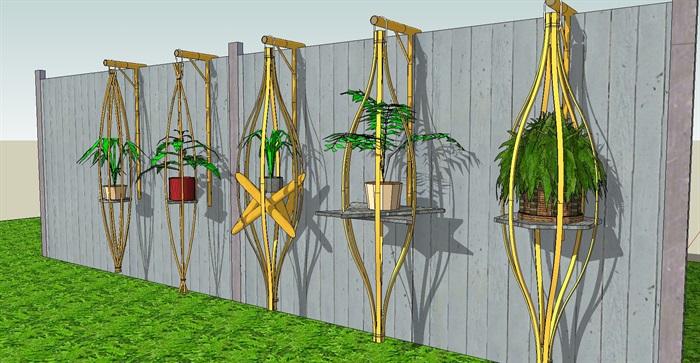 五个竹制景观小品SU模型(1)